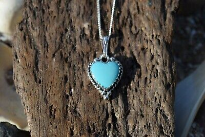 Native American 925 Sterling Silver Turquoise Heart Gemstone Necklace • 24.99£
