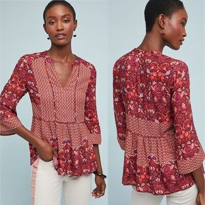 $ CDN74 • Buy Anthropologie Ranna Gill Floral Mabel Peasant Top Womens Size Medium Red Print