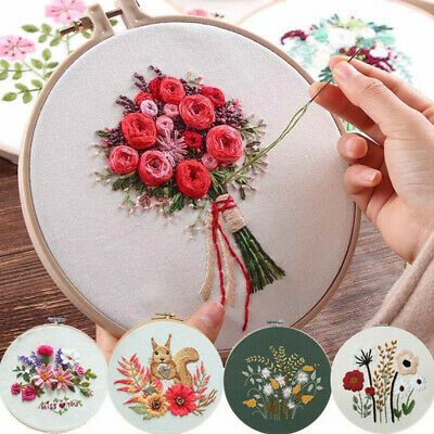 £5.19 • Buy Embroidery Cross Stitch Kit Set For Beginners-Handmade Floral Pattern DIY Craft