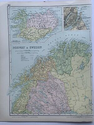1908 Northern Scandinavia & Iceland Original Antique Map By G.W. Bacon • 15.99£