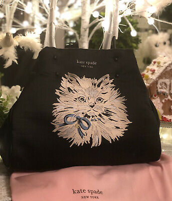 $ CDN419.77 • Buy Kate Spade Everything Puffy CAT Large Tote, NWT, Black,Embroidered, Leather Trim