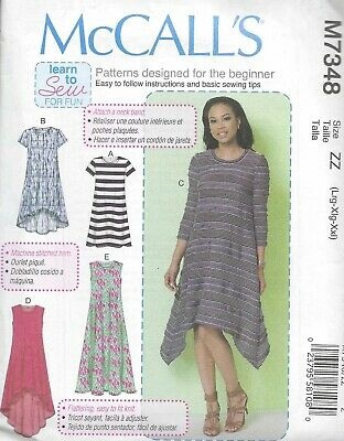 Women's Knit High Low Flowing Dress Sewing Pattern UNCUT Large XL XXL • 4.31£