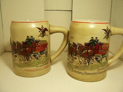 $ CDN191.39 • Buy 2-1980 Budweiser Green Cases 1ST Xmas STEIN  Red Cases These Were Hand Painted