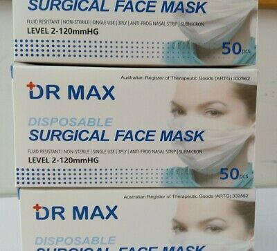 AU22.99 • Buy Disposable Surgical Face Mask 3Layer Anti Bacterial Protective Filter AU Cert