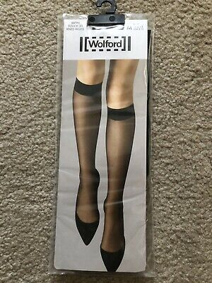£10 • Buy Wolford Satin Touch 20 Knee-Highs Size M Black