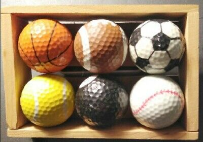 Novelty Sports Golf Balls- 6-Ball Pac VERY HARD TO FIND WITH DISPLAY BOX ! • 6.43£