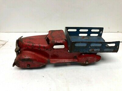 "$ CDN102.78 • Buy Vintage 6"" Wyandotte Pressed Steel Stake Bed Delivery Truck - Blue & Red"