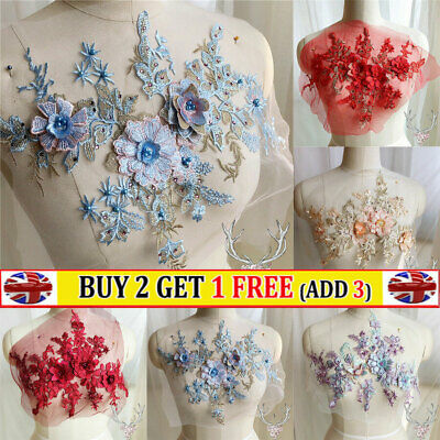 3D Flower Embroidery Lace Bride Applique Beaded Tulle DIY Wedding Dress Crafts • 6.92£