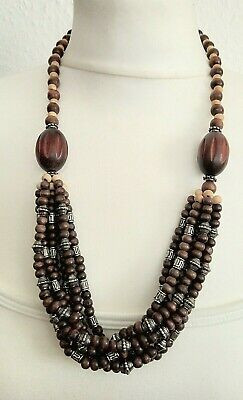 Wood And Metal Beaded Necklace • 5.99£