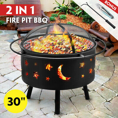 AU119.99 • Buy 30  2-in-1 Fire Pit BBQ Grill Outdoor Fireplace Brazier Patio Heater Camping