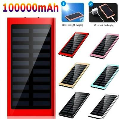 AU25.99 • Buy NEW 100000mAh Dual USB Portable Solar Battery Charger Solar Power Bank For Phone
