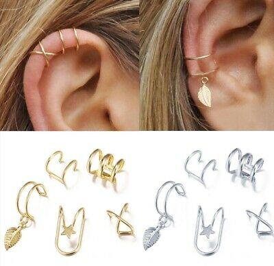 £2.99 • Buy 5pcs/set Silver Color Ear Cuff Clip On Fake Cartilage Earrings