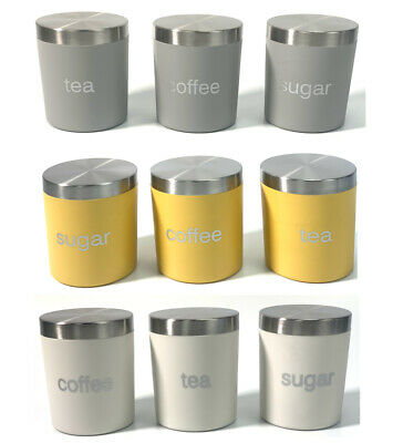 Dylex™ Set Of Three Kitchen Storage Canisters Jar Pots For Tea Coffee Sugar  • 14.99£