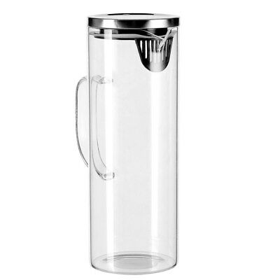 AU19.95 • Buy Glass Water Jug With Stainless Steel Lid 1.8L Water Pitcher For Fridge 28cm