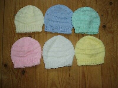 New Hand Knitted Baby Hat In White, Pink, Lemon, Cream, Mint Or Blue Newborn  • 2.50£