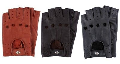 New Retro Real Leather Men Fingerless Driving Cycle Gloves Unlined Chauffeur UK • 6.99£