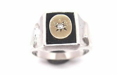 AU175 • Buy Mens Sterling Silver, 9CT Gold & Diamond SIGNET Ring
