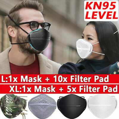 $ CDN17.77 • Buy Reusable Face Masks Mouth Nose Separate + Carbon Filters Washable Anti Haze Fog