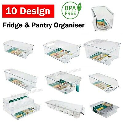 AU12.95 • Buy Stackable Clear Plastic Kitchen Fridge Pantry Organiser Storage Container 10Type