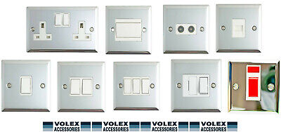 Volex Polished Chrome 1G/2G/Spur Light Switch Double Socket White Inserts • 6.99£