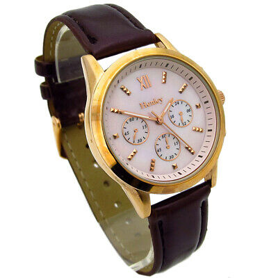£14.99 • Buy Henley Ladies Watch Brown Metallic Leather Look Strap Mother Of Pearl Face #447