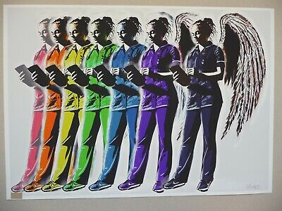 HORACE Signed Ed10 Print Featuring Rainbow Nurse Angels (+banksy & Stik Photos) • 119.95£