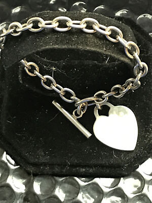 SOLID SILVER VINTAGE HALLMARKED, HEART T BAR CHAIN BRACELET. For Your Valentine. • 40£