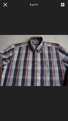 Mens Barbour Tailored Fit Checked Long Sleeve Cotton Shirt L • 14.99£