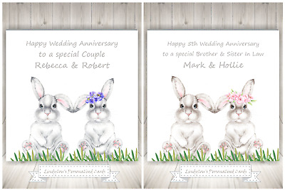Cute Bunnies Rabbits Wedding Anniversary Card Personalised Special Couple Sister • 2.25£