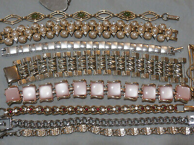 $ CDN82.04 • Buy Vintage Bracelet Lot 10 Pcs Jewelry Rhinestone Thermoset Signed Coro Kramer More
