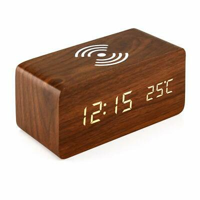 Wood Digital LED Alarm Clock Thermometer Qi Wireless Charger  • 24.99£