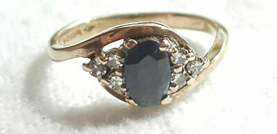 9ct YELLOW GOLD SAPPHIRE & DIAMOND RING - SIZE G - FULLY HALLMARKED - 1.7 Grams • 99£