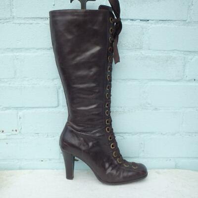Bronx Leather Boots Size UK 6 Eur 39 Womens Shoes Lace Up Brown Boots • 39.99£