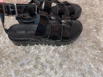 Womens ASOS Black Chunky Sandals Size 3 • 8£