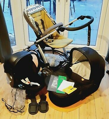 Mamas And Papas Sola Travel System Pushchair Carrycot Cybex Aton Carseat Adapter • 100£
