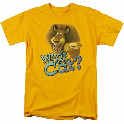 Madagascar Whos The Cat T Shirt Mens Licensed Movie Tee Alex The Lion Gold • 16.64£
