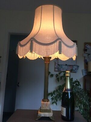 Large Vintage Lamp, Brass & Onyx With Shade & Carrier. • 55£