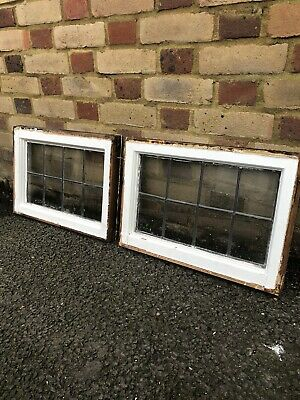 Pair Of Reclaimed Leaded Light Panel Wooden Windows • 99.99£