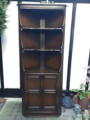 ERCOL Old Colonial Solid Elm & Beech Dark Wood Corner Display Cabinet - CS H65 • 69.99£