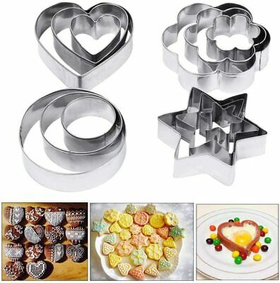 Pastry Cookies Cutters,12 Pcs Metal Cookie Cutters Heart Star Circle Flower Shap • 3.99£