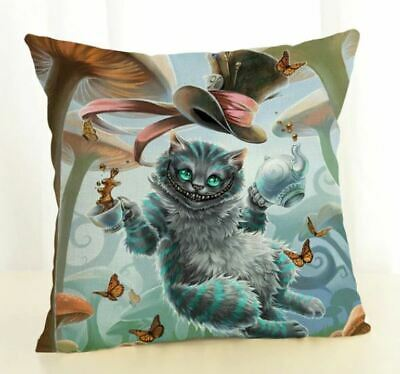 Steampunk  Alice In Wonderland Cat Cushion Cover 18x18 Linen  • 6.95£