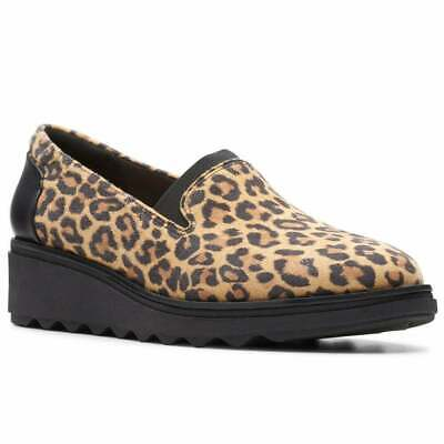 £32 • Buy Clarks Sharon Dolly Womens Wedge Heel Shoes Leopard Print Size Uk 3 D