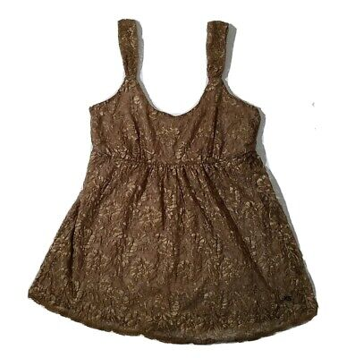 £10.18 • Buy NWT New York And Company Gold Lace Tank Top Built In Shelf Bra Ajustable Straps