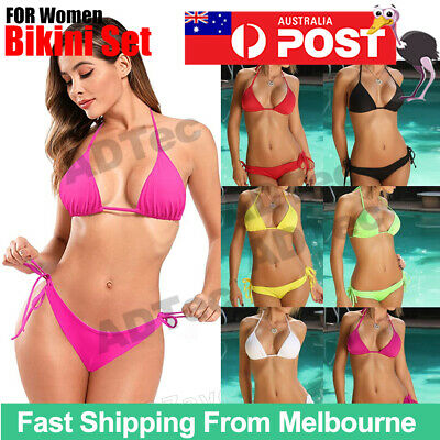 AU8.95 • Buy Ladies Sexy Triangle Bikini Padded Halter Top Bottom Swimwear Set AUS