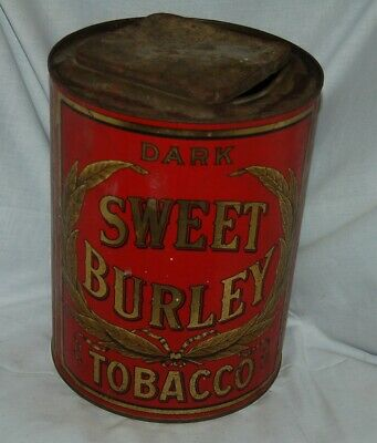 Dark Sweet Burley Tobacco,  Large General Store Counter Top Tin, Hinged Lid, Red • 88.67£