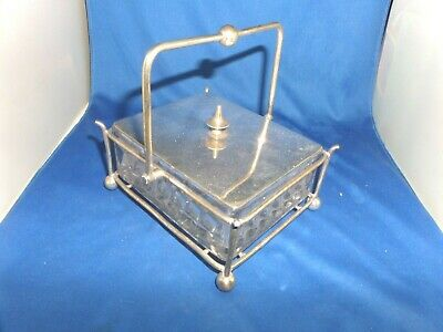 Edwardian Cube Fostoria  Glass &  Plate Butter Dish C.1910 John Turton & Sons • 25£