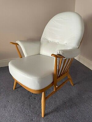 Vintage LEATHER White  ERCOL Wooden WINDSOR Bridal Armchair Chair Warm Elm • 295£