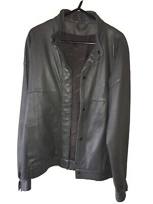 £120 • Buy SAAB-Scania RARE Trucker Leather Jacket Size 14 Grey Parrish Trimmers GB