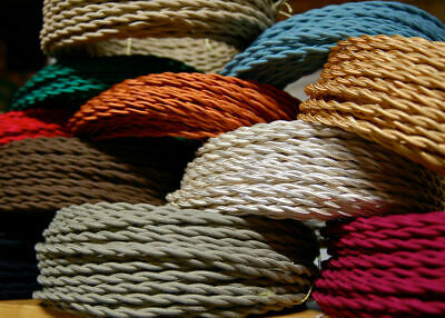 3 Core Twisted Vintage Italian Wire Coloured Fabric Braided Cable Lamp Cord Flex • 3.73£