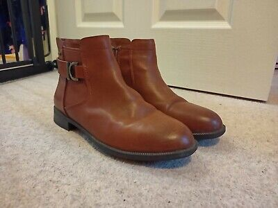 Clarks Ladies Leather Chelsea Boots TAN Brown MINT JAM GORETEX Ankle Boots 5.5  • 40£